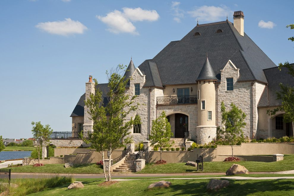 First Castle Homes   Traditional Exterior Also Balcony Castle Entrance Entry Formal Grass Lawn Manor Neutral Colors Staircase Stairs Steps Stone Wall Tower Turf Turret Wall