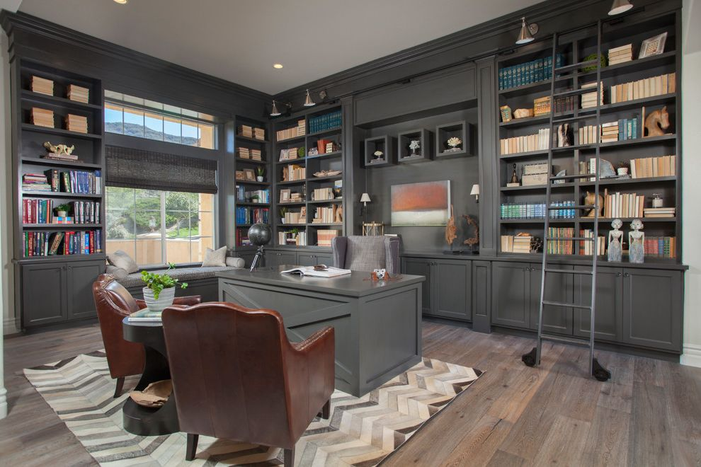 Fischer Homes Careers with Traditional Home Office Also Black Globe Bookcase Books Bookshelves Cabinetry Cabinets Chevron Rug Desk Gray Cabinets Library Millwork Painted Cabinets Rolling Library Ladder Study