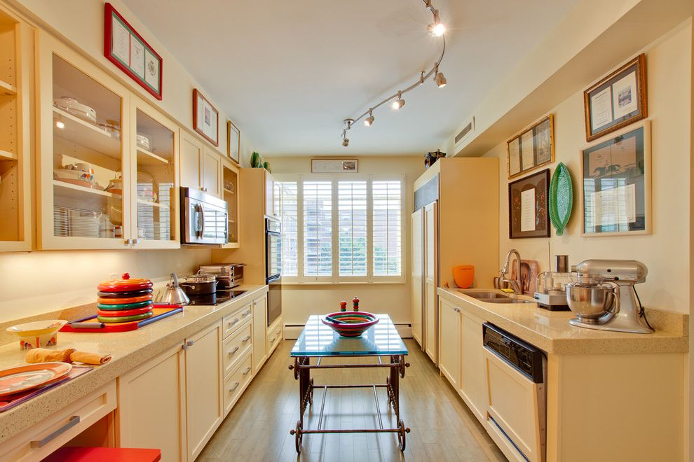 Flexible Track Lighting Kits with Eclectic Kitchen  and Artwork Butter Cream Frame and Panel Woodwork Galley Kitchen Glass Front Cabinets Integrated Kitchen Red Wood Floor Yellow
