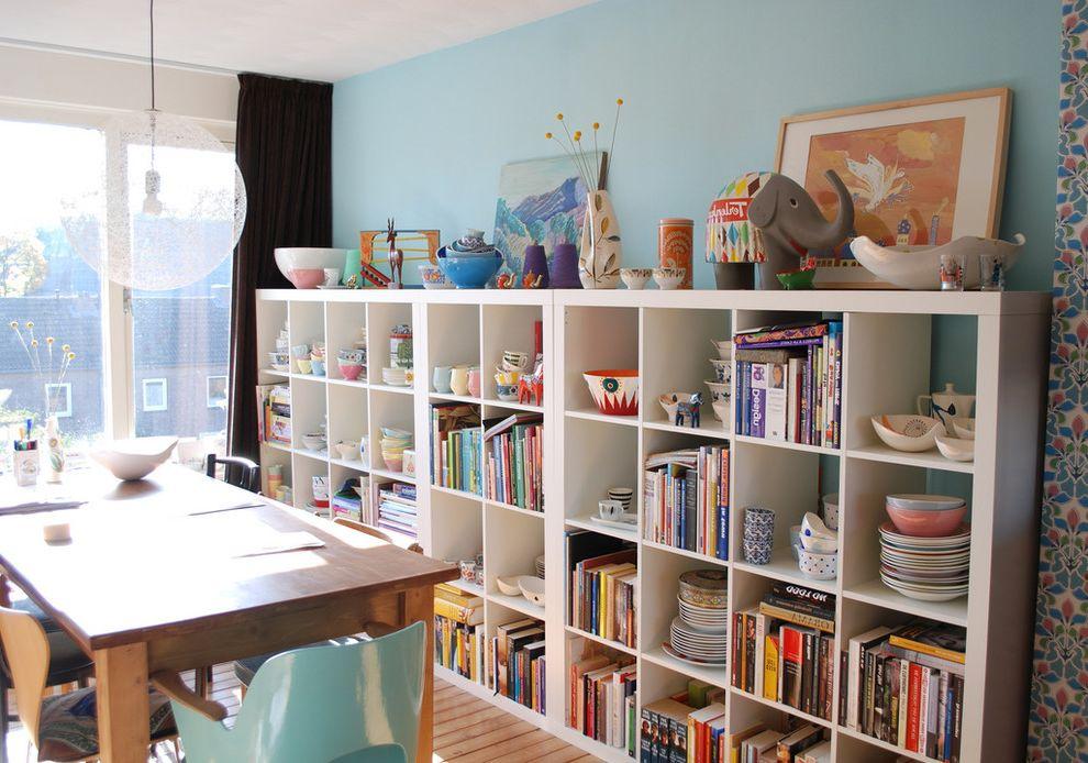 floating bookshelves ikea contemporary dining room and art books bookshelves color craft room eclectic etsy fun grid shelves pendant light random light studio vintage wallpaper