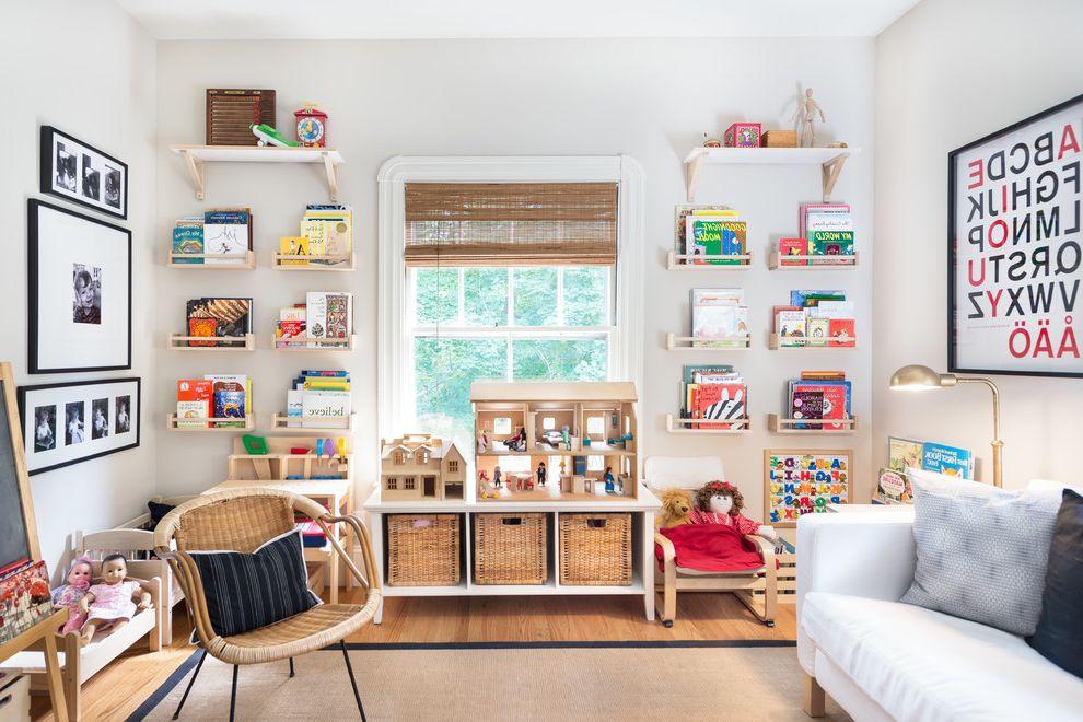 Floating Bookshelves Ikea   Farmhouse Kids  and Framed Art Natural Fiber Shades White Armchair White Sofa Wicker Armchair