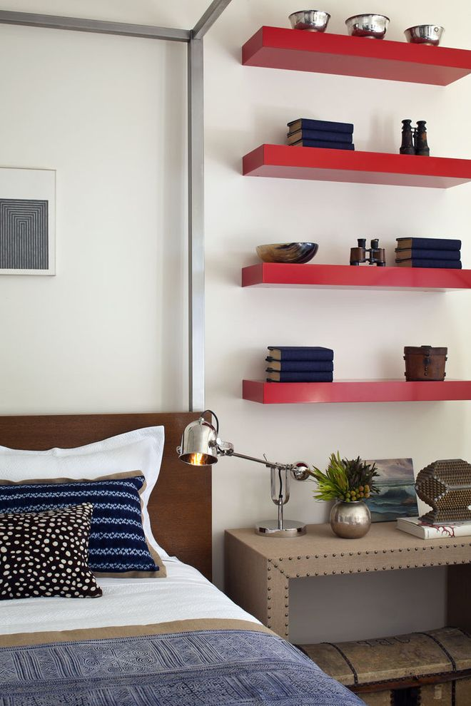 Floating Bookshelves Ikea with Contemporary Bedroom  and Bed Pillows Bedside Table Bookshelves Canopy Bed Floating Shelves Nail Head Trim Nightstand Reading Lamp Red Shelves Swing Arm Lamp Wall Shelves