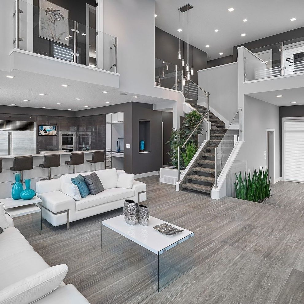 Floor Paint Lowes   Contemporary Living Room  and Glass Panel Railing Gray Floor Tile Open Floor Plan Open Staircase Recessed Lighting Stainless Steel Glass Railing White Sofa