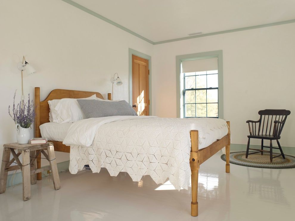 Floor Paint Lowes   Farmhouse Bedroom  and Bare Walls Charming Farrow and Ball Paint Fir Door Green Trim Guest Bedroom Lavender Minimalist No Wall Decor Painted Floors Plaster Walls Roller Shades Swiss Pine White Floor White Walls Wooden Bed