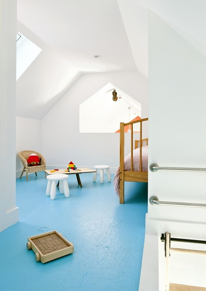 Floor Paint Lowes   Farmhouse Kids Also Attic Blue Floor Kids Play Area Loft Loft Space Loft Window Playroom Sky Light Skylights Sloped Ceiling Vaulted Ceiling