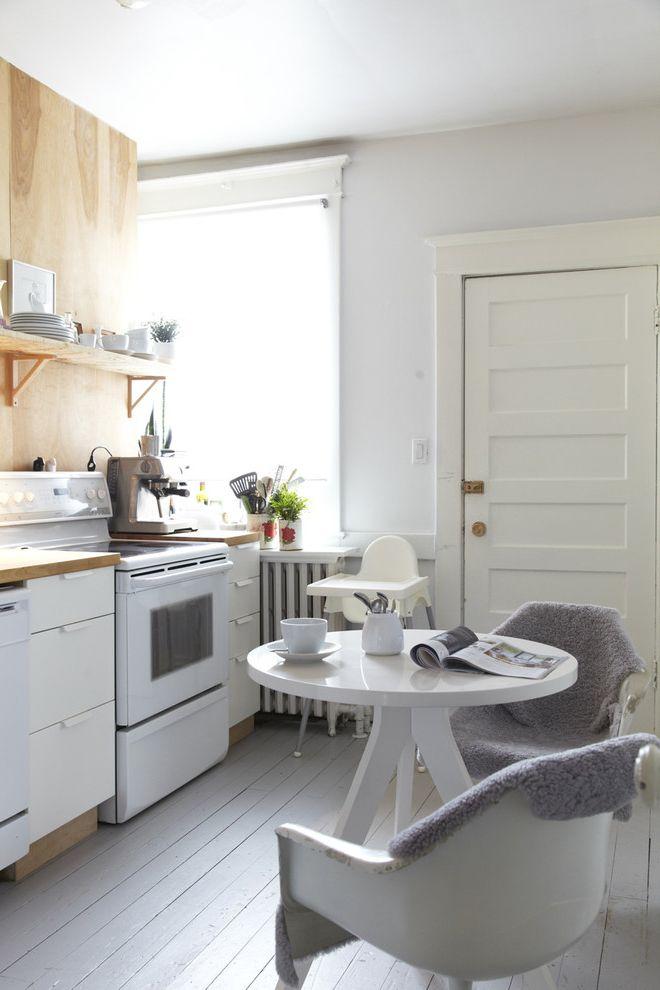 Floor Paint Lowes   Scandinavian Kitchen  and Airy Chair Dining Table Painted Wood Floor Plastic Chair Round Table Simple Small Kitchen Small Space Dining White White Cabinets White Painted Wood Floor Wood Floor