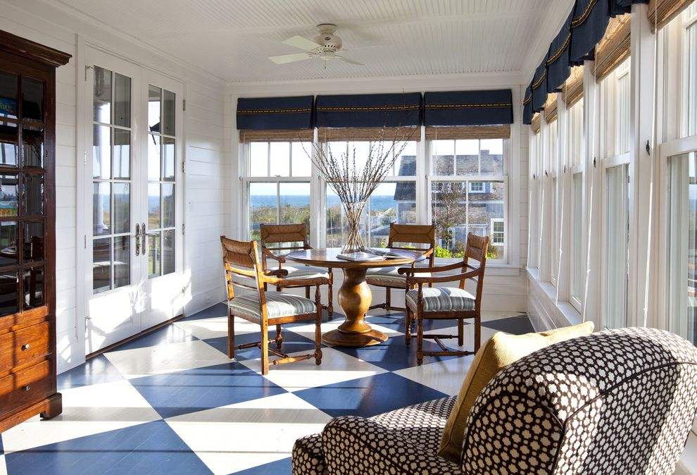 Floor Paint Lowes   Traditional Sunroom Also Armchair Armoire Beadboard Ceiling Blue Checkerboard Floor Dark Stained Wood Dining Table French Doors Painted Ceiling Painted Floor Porch Round Sun Room White Windows Wood Floor Woven Roller Blinds