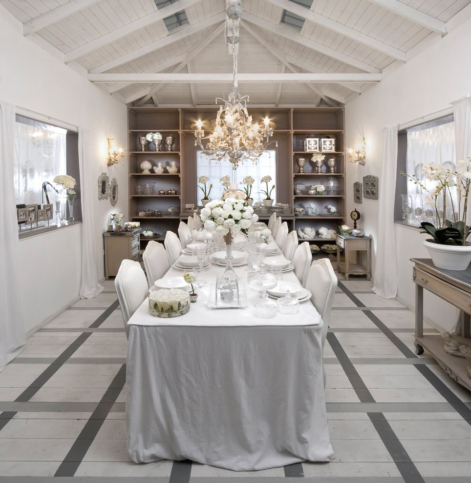 Floor Paint Lowes with Shabby Chic Style Dining Room Also Beams Chandelier Exposed Ceiling Long Dining Table Open Shelving Orchids Painted Wood Floor Pattern Floor Shabby Chic Tablecloth Upholstered Dining Chairs Vaulted Ceiling White White Ceiling