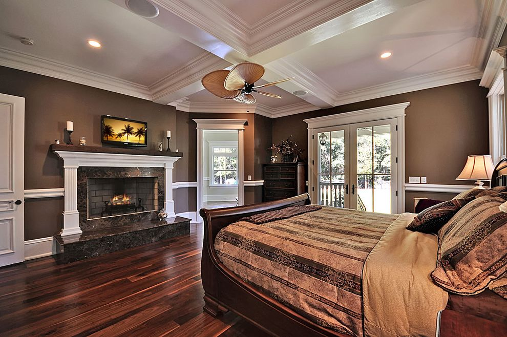 Floor Paint Lowes with Traditional Bedroom Also Chair Rail Coffered Ceiling Fireplace Fireplace Mantel Neutral Colors Painted Walls Sleigh Bed White Trim Wood Bed Frame