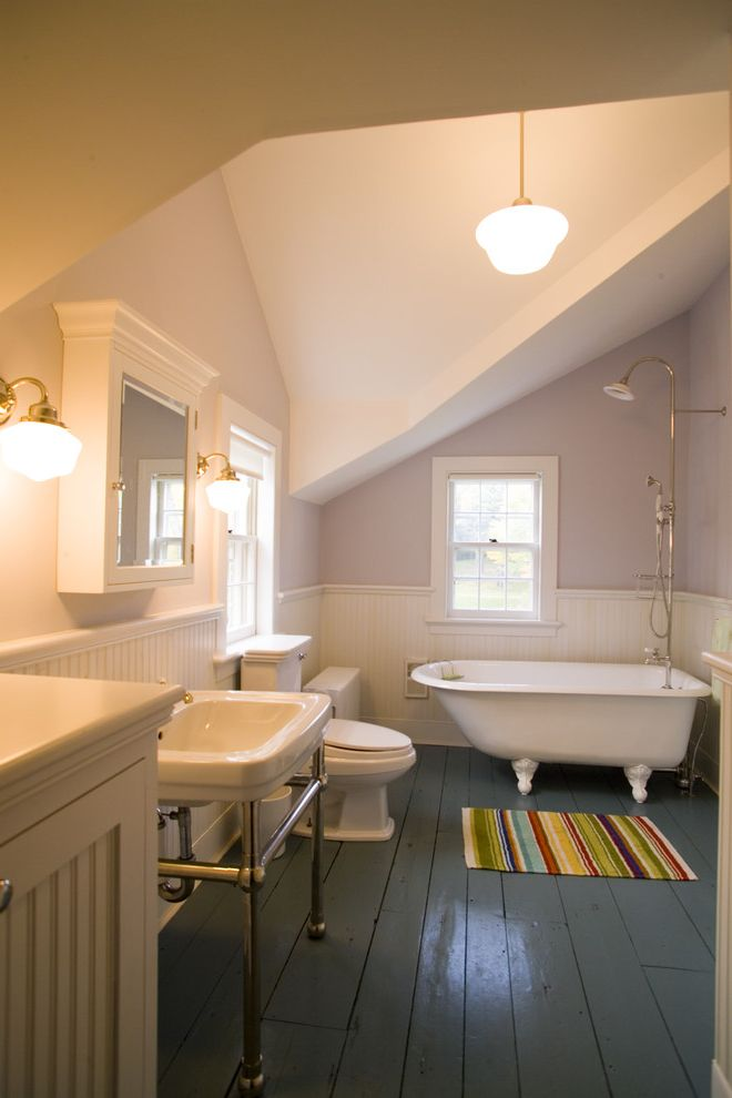 Floor Paint Lowes with Victorian Bathroom Also Beadboard Wainscoting Clawfoot Tub Dormer Windows Painted Wood Floor Purple Walls Schoolhouse Pendant Light Striped Bath Mat Wainscoting White Trim