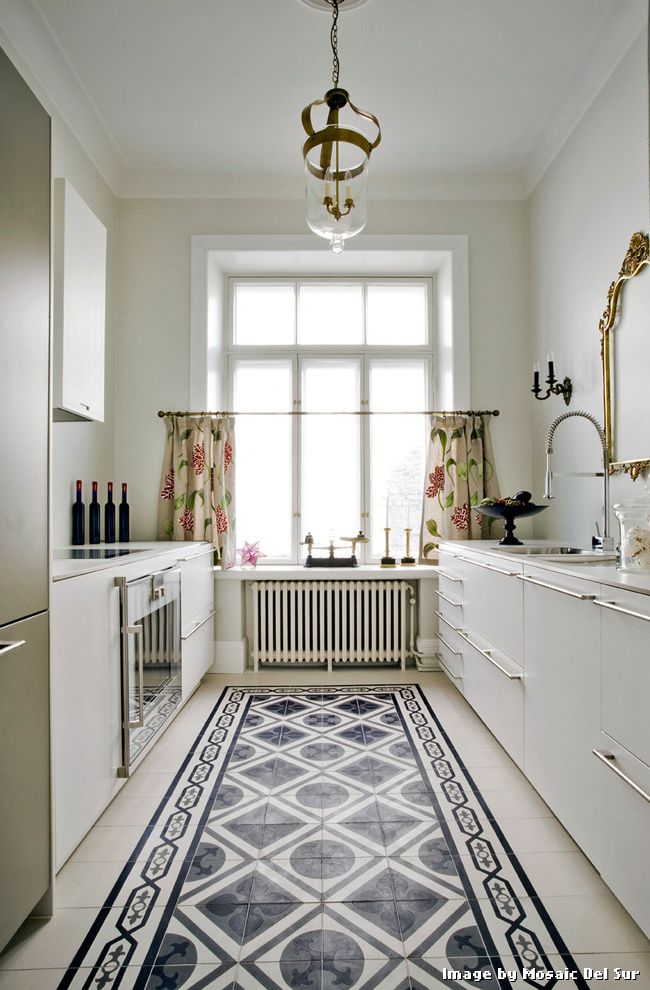 Floor Prep for Tile with Transitional Kitchen and Cabinet Handles Decorative Floor Tiles Floor Tile Galley Kitchen High Ceilings Kitchen Curtains Patterned Floor Tile Radiator Tiled Floor Tiled Kitchen Floor White Kitchen Cabinets