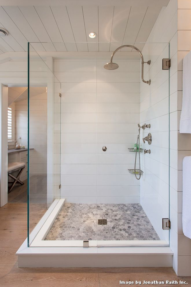 Floor Tiling Cost with Beach Style Bathroom and Beach Cottage Contempory Interior Corner Shower Custom Shower Dressing Table Frameless Glass Shower Glass Enclosed Shower Mosaic Floor Tile Nantucket Nantucket Style Shiplap Style Corian