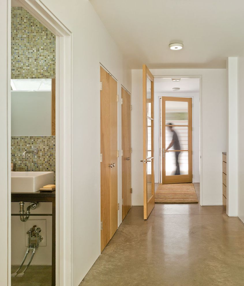 Flooring Over Concrete Options   Farmhouse Hall  and Bathroom Closet Concrete Floor Concrete Flooring Entry Frosted Glass Green Light Wood Mosaic Tile Runner Stained Concrete Floor Stained Concrete Flooring Stained Concrete Floors White