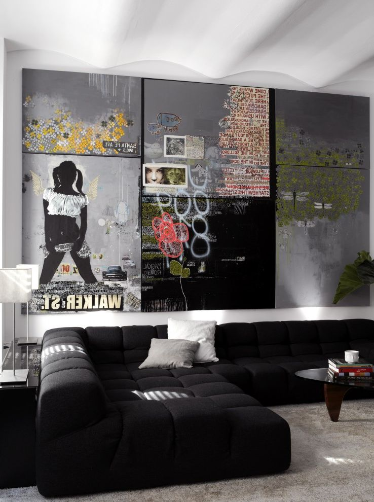 Flowered Sofas   Contemporary Living Room Also Art Artwork Bb Sofa Black and White Curved Ceiling Decorative Pillows Graffiti Art Low Profile Sofa Neutral Colors Sectional Sofa Throw Pillows Upholstered Sofa Wall Art Wall Decor