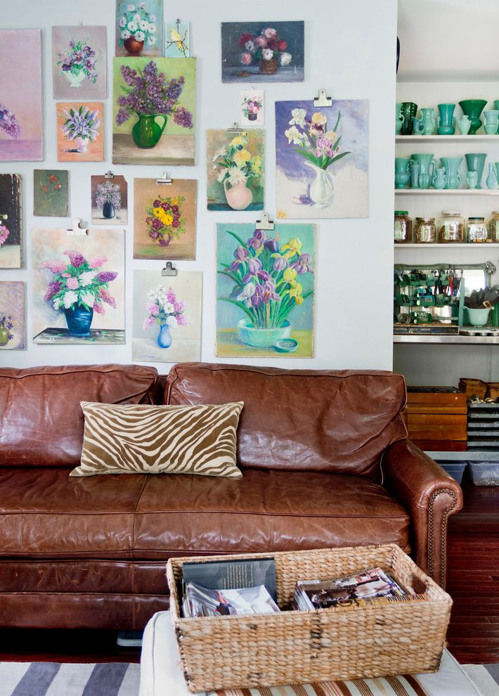 Flowered Sofas   Eclectic Family Room Also Aqua Vases Brown Leather Sofa Brown Zebra Print Pillow Ceramic Collection Clipboard Clips Flower Paintings Gallery Wall My Houzz Nailhead Trim Rolled Arm Still Life Paintings Wicker Basket