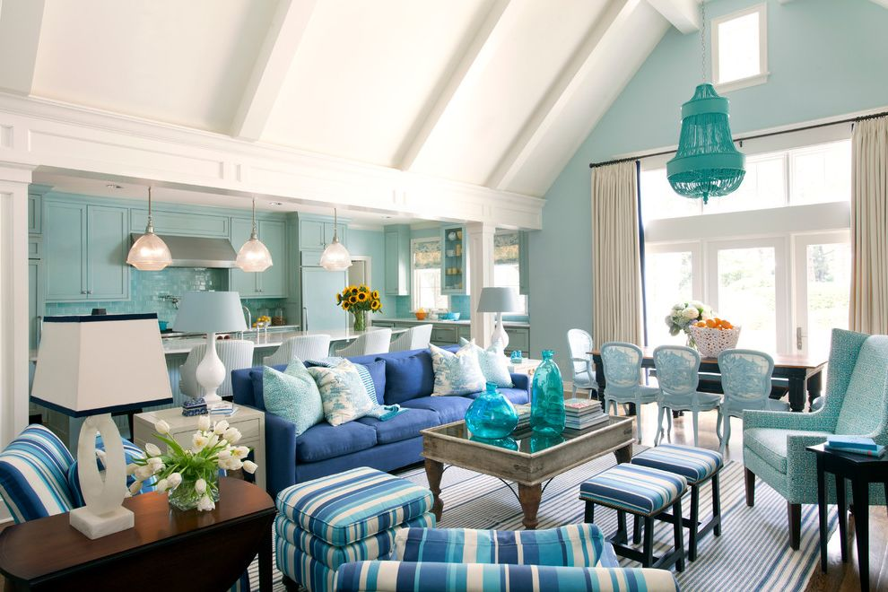 Flowered Sofas with Transitional Living Room  and Blue Accents Blue Chandelier Centerpiece Cool Colors Curtains Dining Chairs Dining Table Flowers Sofa Stripes Vaulted Ceiling