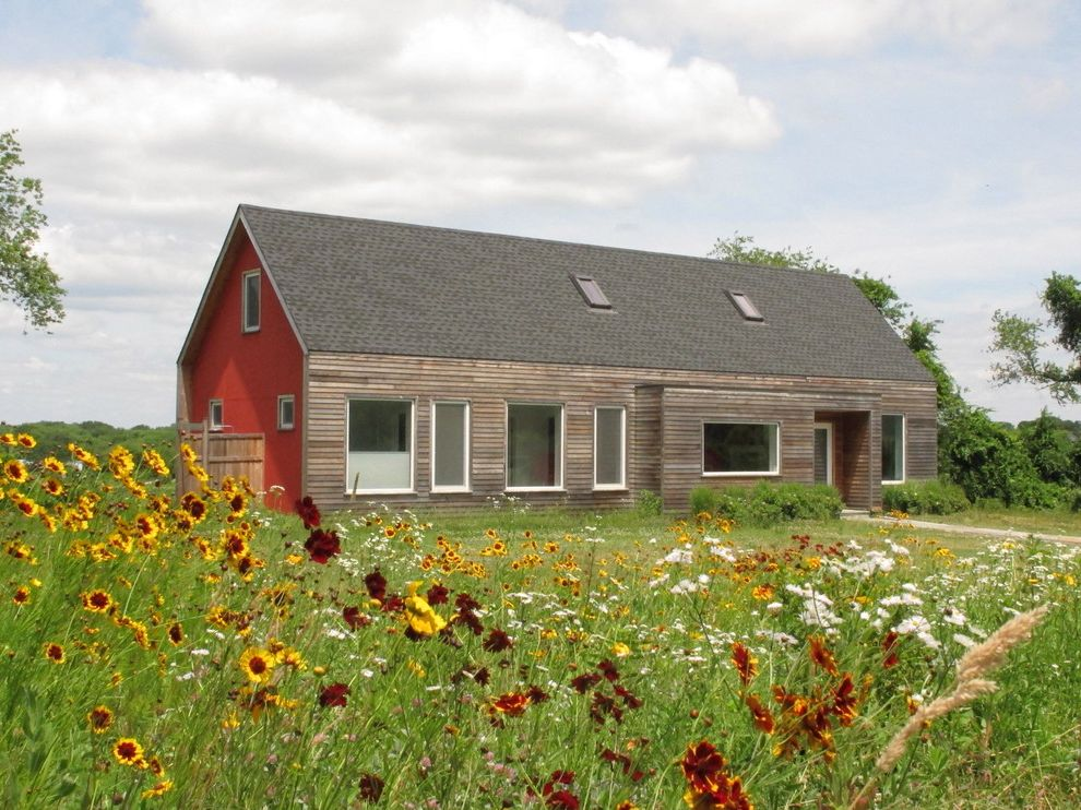 Flowers That Start with a with Contemporary Landscape Also Barn House Field Lawn Alternative Leed Low Maintenance Meadow Meadow Garden Red Siding Skylights Sunflowers Wood Panel Siding Yellow Flowers