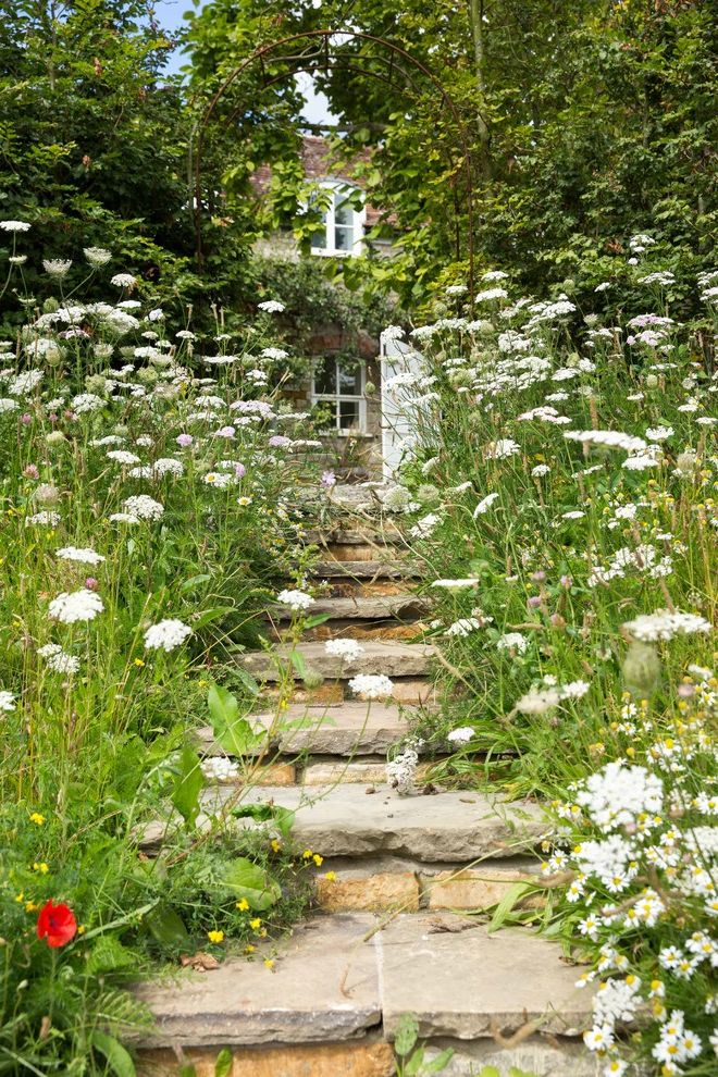 Flowers That Start with a with Farmhouse Landscape  and Country Entrance Exterior Stairs Garden Romantic Somerset Stone Steps Traditional Walled Garden Wildflower