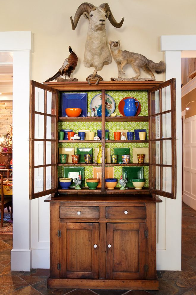 Foam and Fabric Asheville   Eclectic Dining Room  and China Cupboard Fox Green Wallpaper Mounted Animals Pheasant Ram Stoneware White Porcelain Knobs White Trim