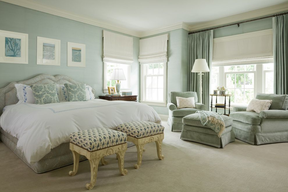 Foam and Fabric Asheville   Traditional Bedroom  and Beige Carpet Drapery Green and White Roman Shades Sitting Area Textured Wallpaper Upholstered Bed Upholstered Walls White Roman Shades White Trim