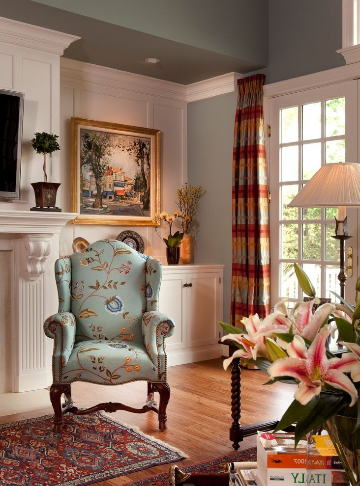 Foam and Fabric Asheville   Traditional Family Room Also Armchair Blue Crown Molding Curtain Fireplace Wainscoting Window Treatment Wood Floor