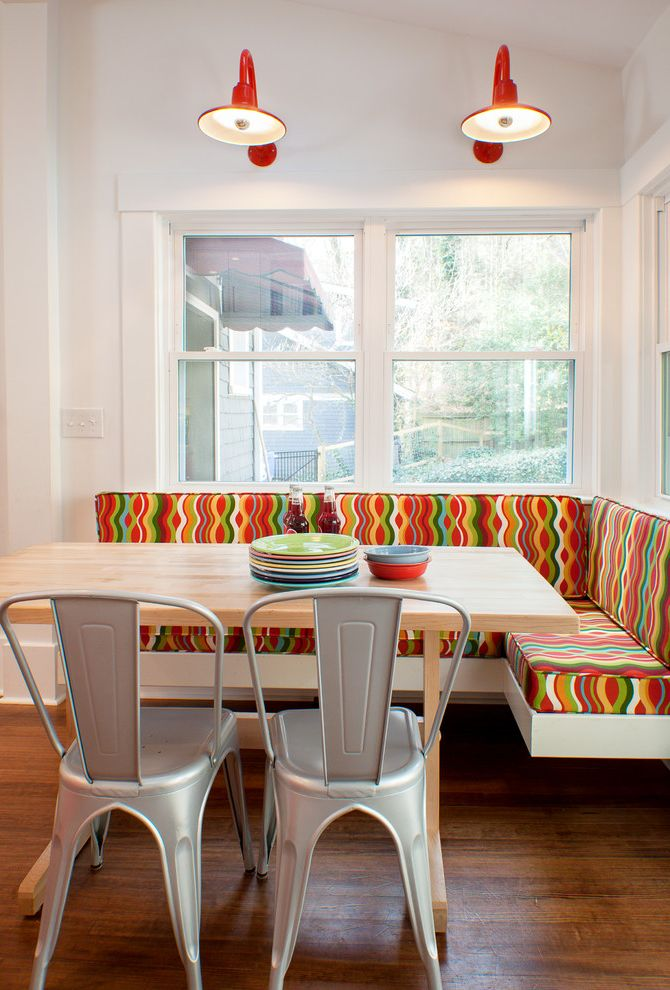 Foam and Fabric Asheville with Contemporary Dining Room  and Banquette Butcher Block Countertops Colorful Cushions Metal Dining Chairs Schoolhouse Electric