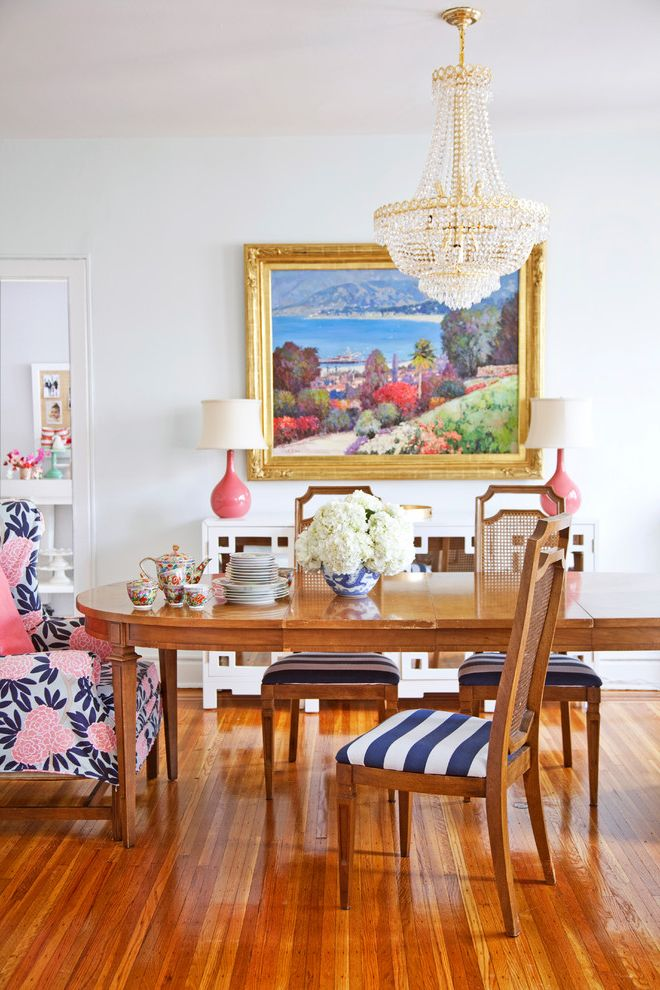 Foam and Fabric Asheville with Eclectic Dining Room  and Artwork Blue Stripes Chandelier Colorful Upholstery Crystal Chandelier Feminine Floral Arrangement Oval Dining Table Pink Table Lamps Striped Dining Chair Tea Set Wood Dining Table Wood Flooring