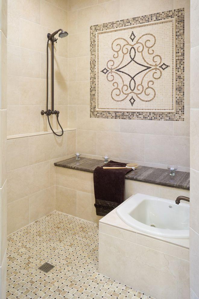 Foot Massage Sacramento   Traditional Bathroom Also Bench Seat Mosaic Shower Detail
