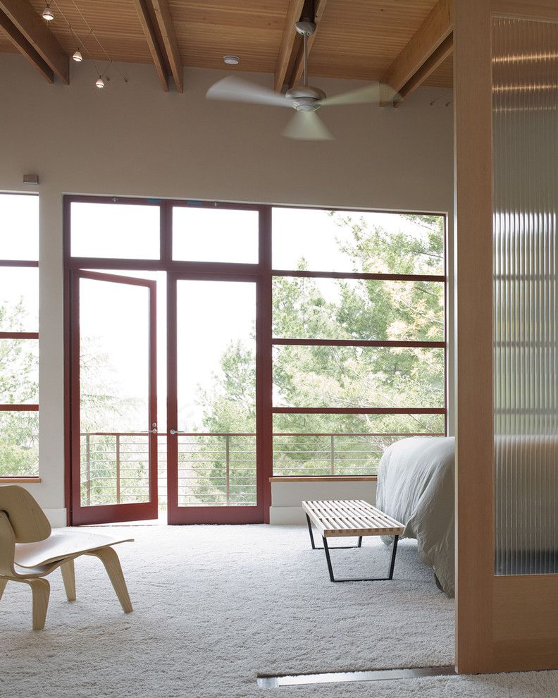 Foot Massage Sacramento with Modern Bedroom Also Balcony Cable Lighting Ceiling Fan Ceiling Lighting French Doors Glass Doors High Ceilings Mast Bedroom Modern Icons Molded Wood Chair Neutral Colors Patio Doors Wood Ceiling Wooden Bench