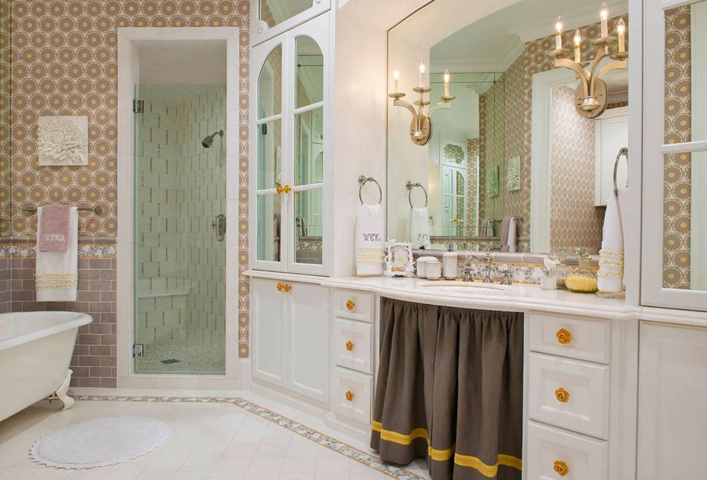 Foot Massage Sacramento with Traditional Bathroom  and Border Tile Brown Skirt Claw Foot Bathtub Formal Glass Shower Door Light Brown Mirror Shower Enclosure Sink Skirt Tile Floor Tile Wainscot Wall Sconces Wallpaper Yellow Accents
