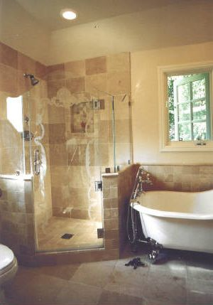 Foot Massage Sacramento with Traditional Bathroom  and Chrome Fixtures Claw Foot Tub Corner Shower Design on Glass Travertine