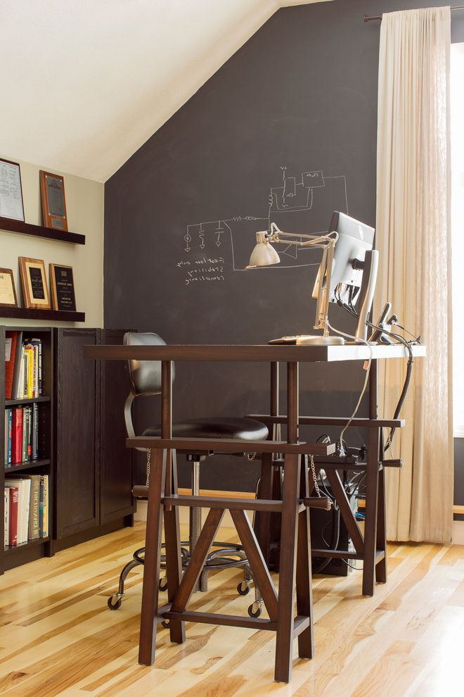 Footrest for Desk   Contemporary Home Office Also Chalkboard Wall Finished Room Over Garage Home Office Photo Ledge Sit and Stand Desk