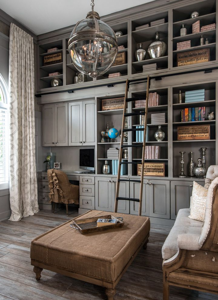 Footrest for Desk with Traditional Home Office  and Bookcase Built in Cabinetry Ottoman Pendant Light Reading Room Rolling Library Ladder Settee