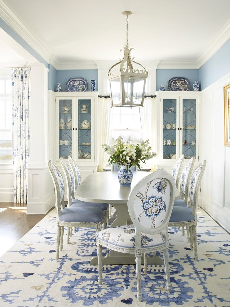 Formal Dining Room Sets for 10 with Beach Style Dining Room  and Blue and White Blue and White Rug China Cabinet Dining Room Blue Formal Dining Room Panel Wainscoting
