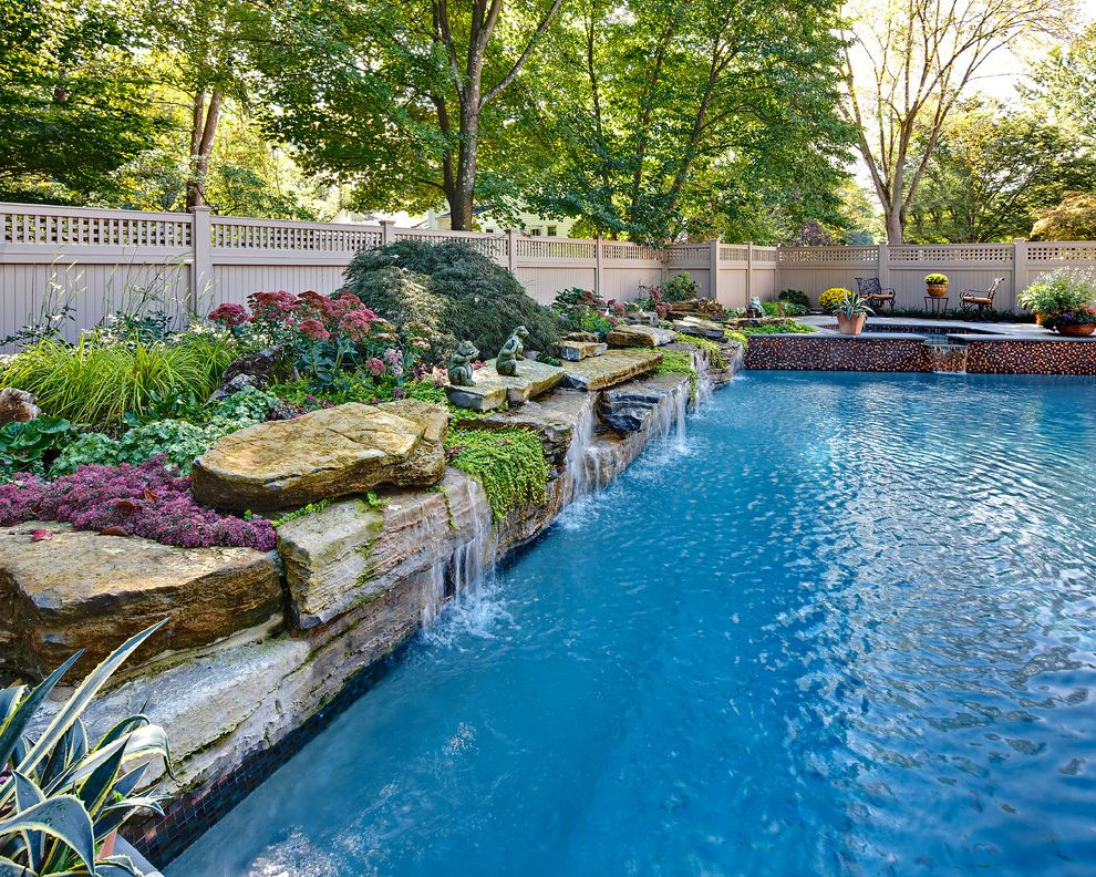 Fort Worth Pool Builders with Traditional Pool Also Boulder Wall Garden Sculpture Hot Tub Lattice Fence Pool Fountain Pool Water Feature Privacy Fence Rock Fountain Spa Traditional Landscape Traditional Pool Water Feature Water Fountain