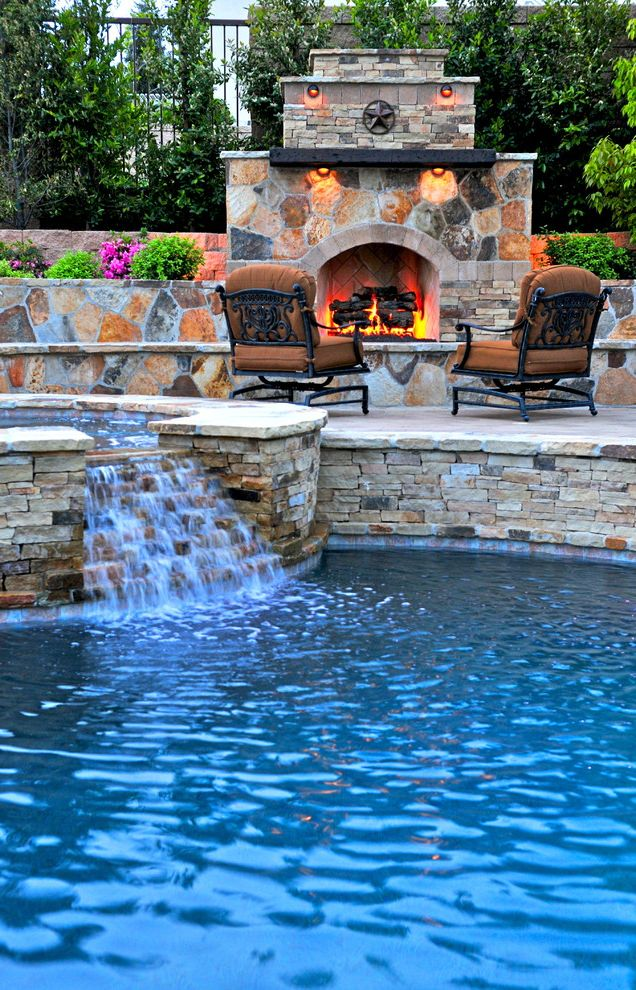 Four Person Hot Tub with Mediterranean Pool and Hot Tub Landscape Outdoor Chair Outdoor Fireplace Patio Furniture Pool Stone Fireplace Stone Pool Trim Stone Wall Water Feature Waterfall
