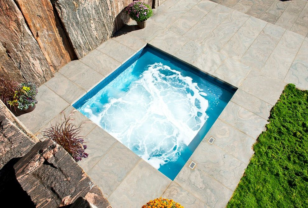 Four Person Hot Tub with Modern Pool and Canadian Shield Inground Swimming Pools Patio Pool Builder Spa Stone Swimming Pools