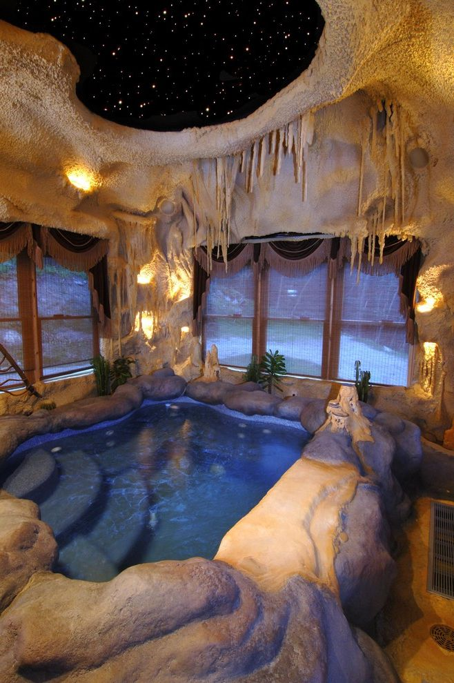 Four Person Hot Tub with Rustic Pool and Accent Lighting Cabin Cave Cave Hot Tub Cave Pool Cave Room Hot Tub Indoor Pool Lodge Log Cabin Natural Night Sky Rock Romantic Rustic Rustoc Pool Stalagmites Stalagtites Star Skylight Stone