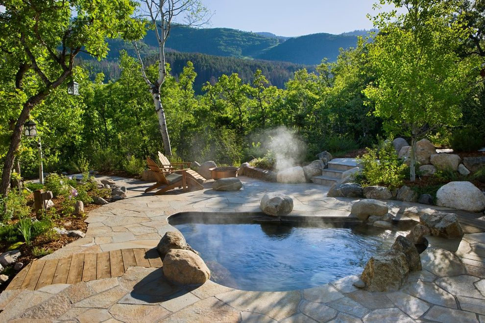Four Person Hot Tub with Rustic Pool and Boulders Fire Pit Mountain Contemporary Mountain Homes Mountain View Pavers Ski Resort Homes Sonoma Forge Steps Trees Wood Chairs