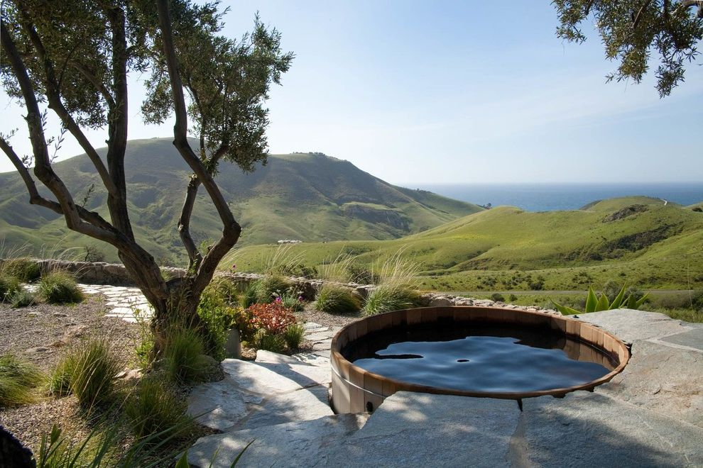 Four Person Hot Tub with Rustic Pool and Cliffs with a View Coastal Countryside Hillside Ocean View Outdoor Living Rolling Hills Rustic Spa Trees Villa Wood Hot Tub Wooden Pool