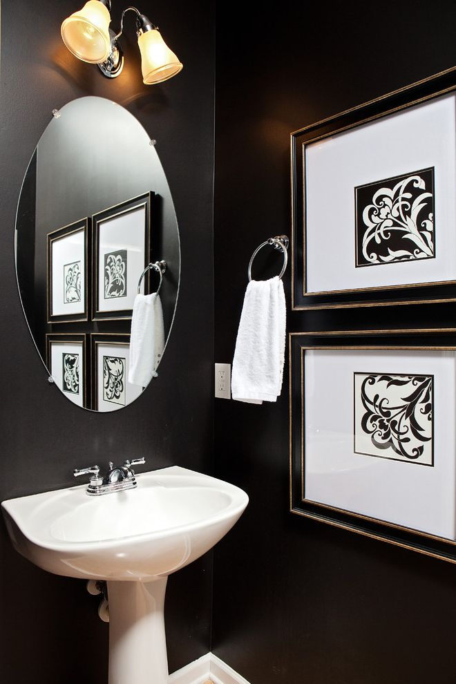 Frame Shops Durham Nc   Traditional Powder Room  and Black and White Black Wall Framed Art Pedestal Sink Round Mirror Sconce Small Bathroom Towel Ring