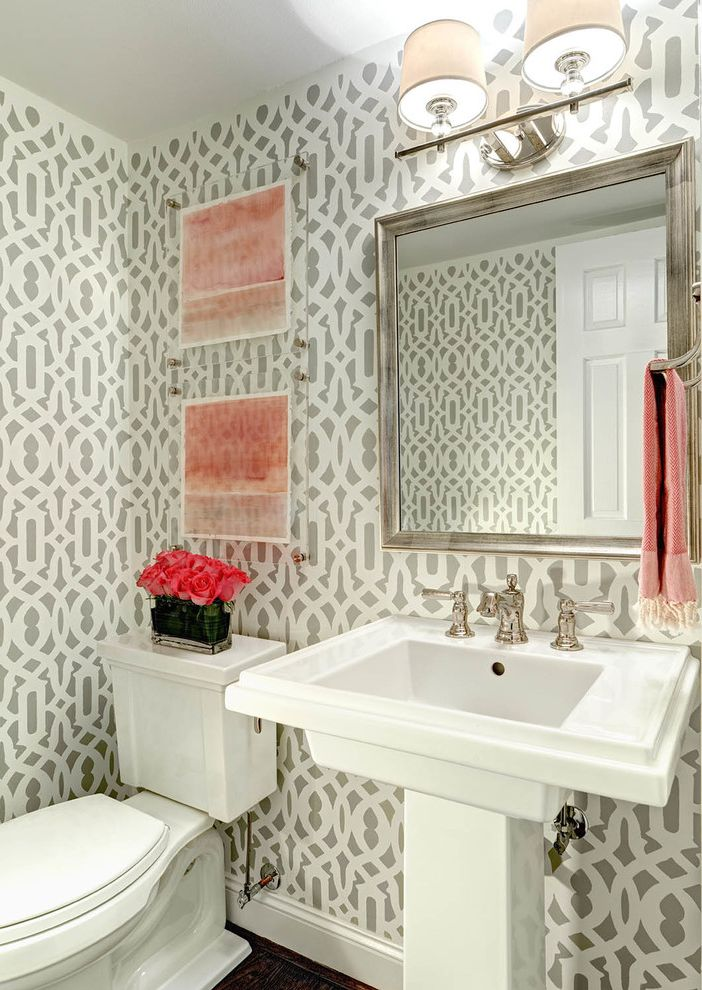 Frame Shops Durham Nc   Transitional Powder Room  and Abstract Art Baseboards Bathroom Lighting Bathroom Mirror Dark Floors Gray Walls Lucite Pedestal Sink Pink Accent Powder Room Wall Stencil White Trim