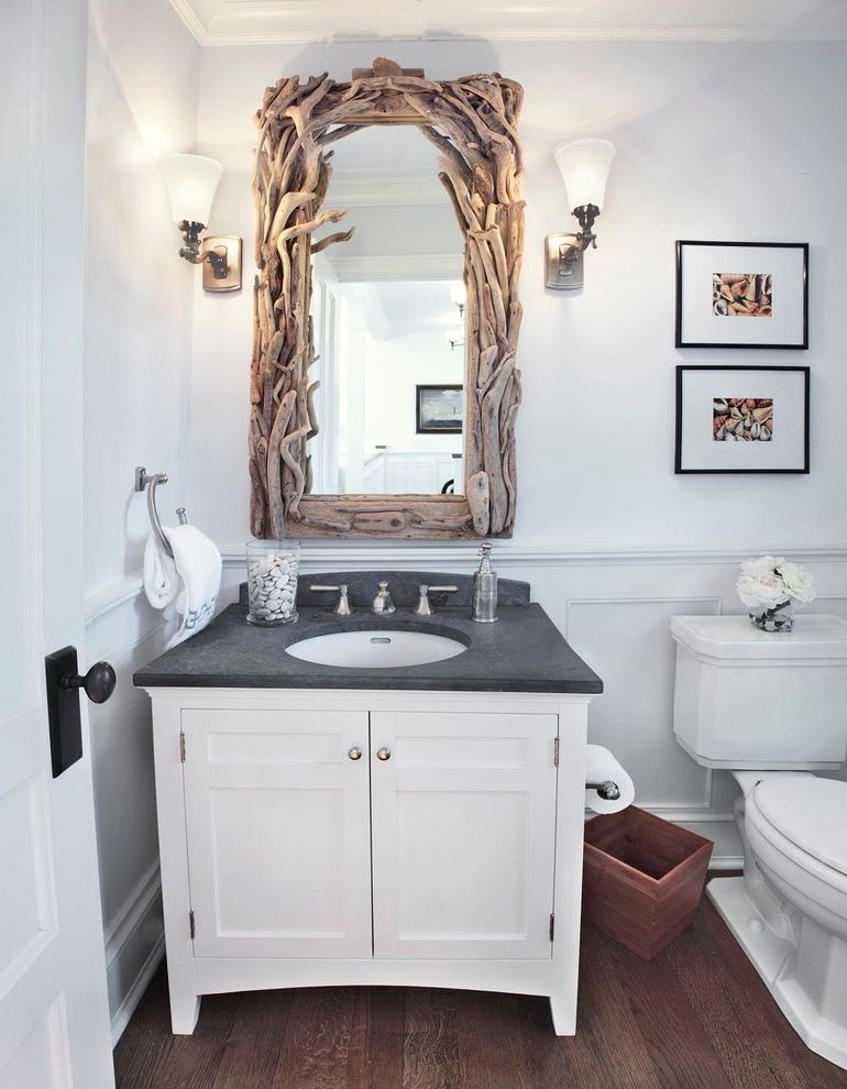 Frame Shops Durham Nc with Beach Style Powder Room Also Framed Art Framed Mirror Hardwood Floor Sconce Sink Toilet Towel Ring White Vanity