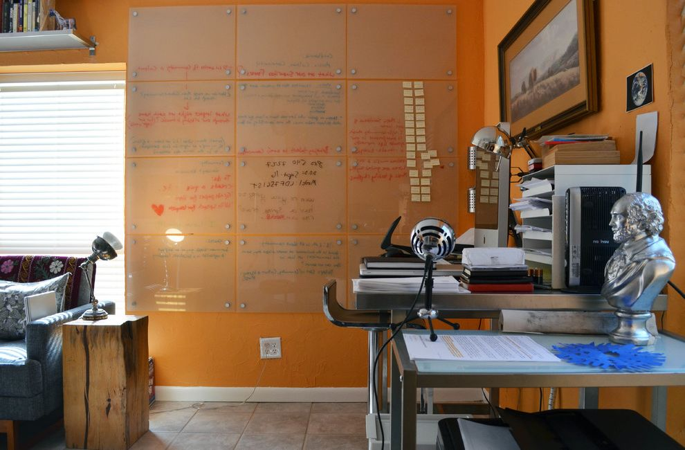 Framed Dry Erase Board with Eclectic Home Office Also Art Desk Modern Orange Walls Organize