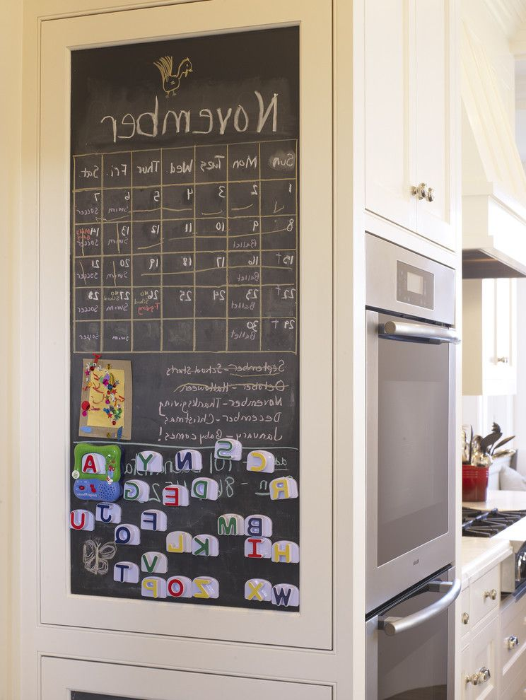 Framed Dry Erase Board with Traditional Kitchen  and Chalkboard Family Friendly Stainless Steel Appliance Traditional Kitchen White Cabinets