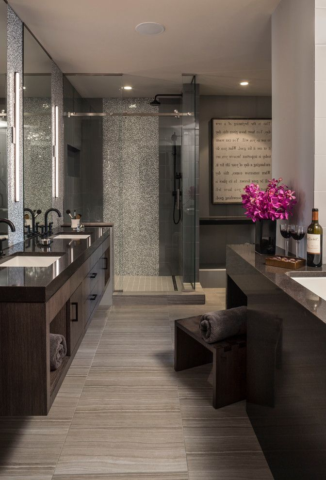 Frank Betz Floor Plans with Contemporary Spaces  and Double Sinks Floating Vanity Spa Bathroom Wall Mirror Wall Sconces