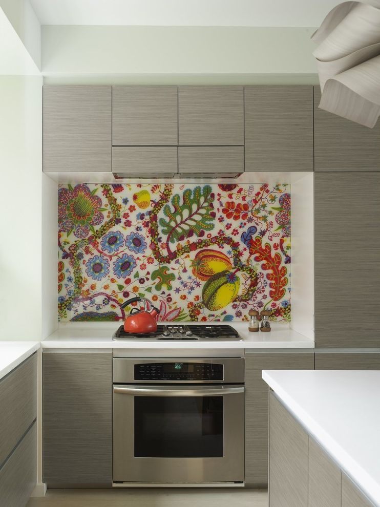 Frank's Auto Glass   Eclectic Kitchen Also Backsplash Fabric Backsplash Floral Art Handleless Cabinets Kitchen Kitchen Island Miele Minimal Oak Red Accent Stainless Steel Appliances White Countertops