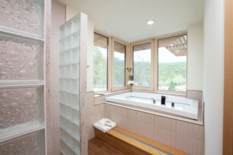 Frank's Auto Glass with Contemporary Bathroom Also Corner Window Earthship Glass Cinderblock Net Zero Recessed Lighting Tub Step