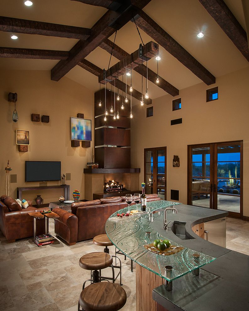 Frank's Auto Glass with Southwestern Living Room Also Beige Tile Floor Contemporary Art Fireplace Glass Counter Green Glass Bar Green Glass Countertop Swivel Bar Stools Wood and Metal Barstool