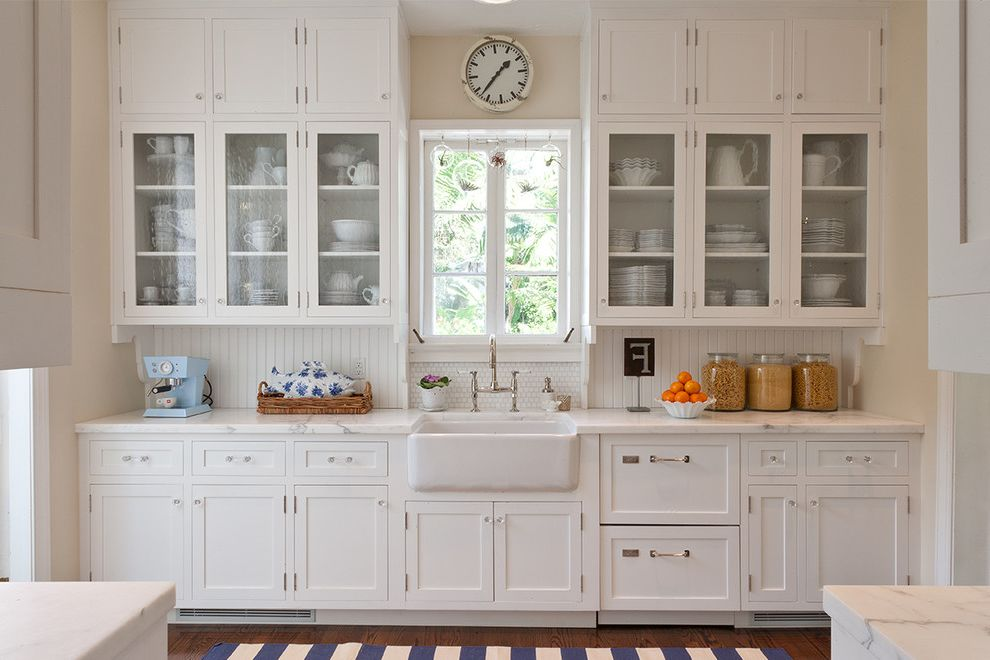 Frank's Auto Glass with Traditional Kitchen Also Anthropologie Clock Madeline Weinrib Rugs Marble Counters Rohl Apron Front Sink Shabby Chic Shaker Cabinets Waterworks Bridge Faucet White Kitchen